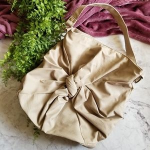 Nude Knot Front Oversized Faux Leather Handbag